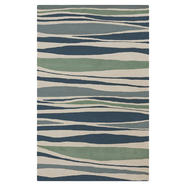 Brickyard Parchment/Pacific Blue Rug by Highland Dunes