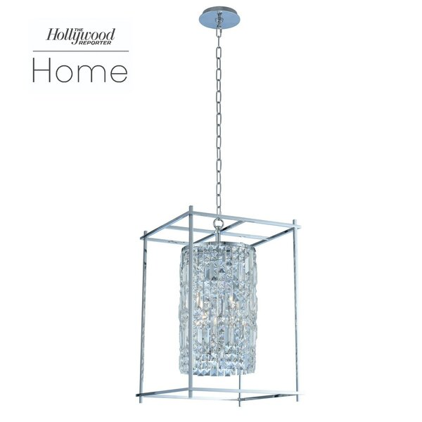 Joni 6-Light Shaded Square / Rectangle Chandelier with Crystal Accents by Allegri by Kalco Lighting Allegri by Kalco Lighting