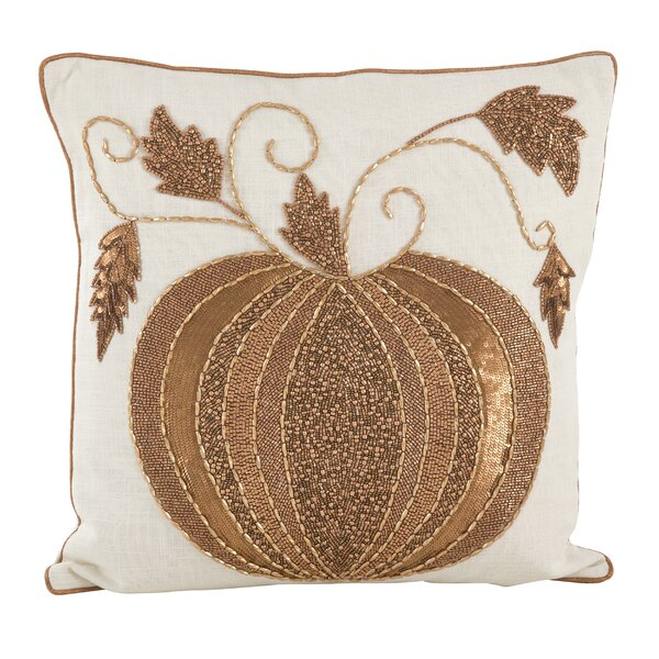 Sarepta Beaded Pumpkin Cotton Throw Pillow by August Grove