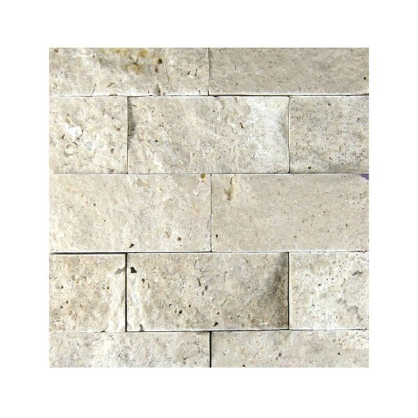 2 x 4 Natural Stone Mosaic Splitface Tile in Beige by QDI Surfaces
