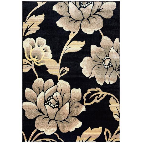 Culver Floral Geometric Black Area Rug by Threadbind