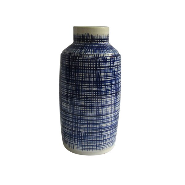 Parkton Cylindrical Ceramic Table Vase with Abstract Stripes by Canora Grey