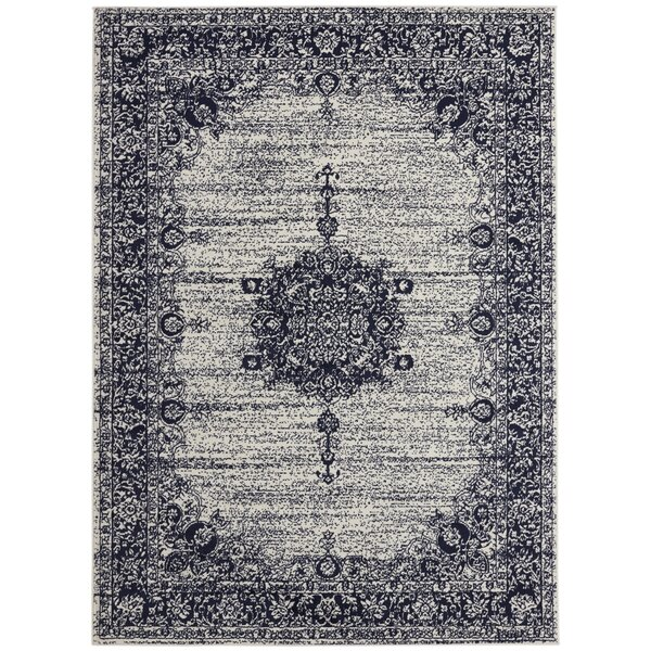 Zander Oriental Medallion Design Ivory/Navy Area Rug by Ophelia & Co.