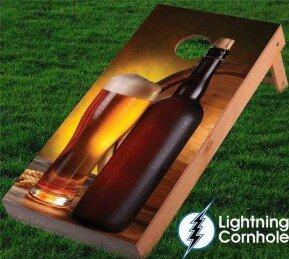 Beer and Bottle Cornhole Board by Lightning Cornhole