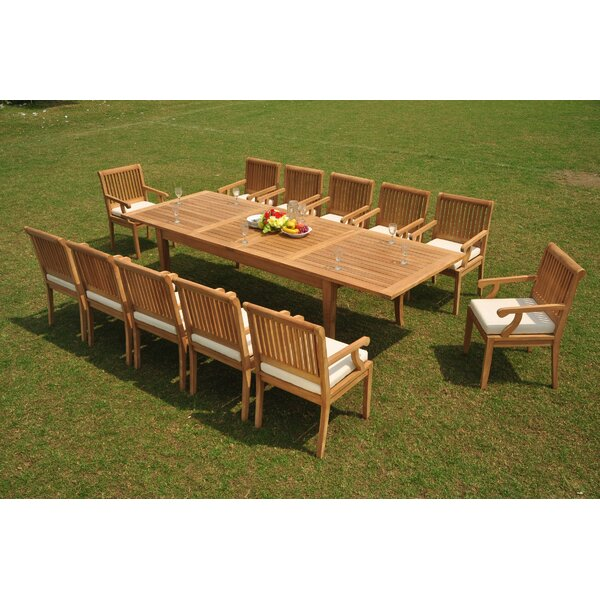 Opalo 13 Piece Teak Dining Set by Rosecliff Heights