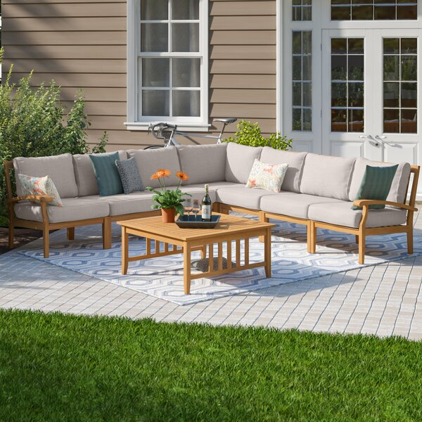 Summerton 8 Piece Teak Sectional Seating Group with Cushions by Birch Lane™ Heritage