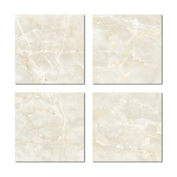 6 x 6 Beveled Glass Field Tile in Light Beige by Upscale Designs by EMA