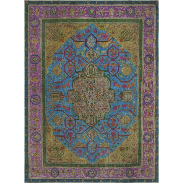 Butterfield Vintage Distressed Overdyed Hand Knotted Wool Blue Area Rug by Bloomsbury Market