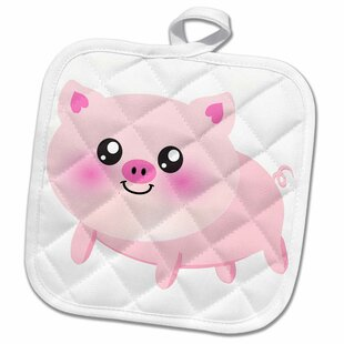 Cute Hy Pig Cartoon Kawaii Farm Animal Nursery Kids Child Porker Pork Bacon Ham Pot Holder