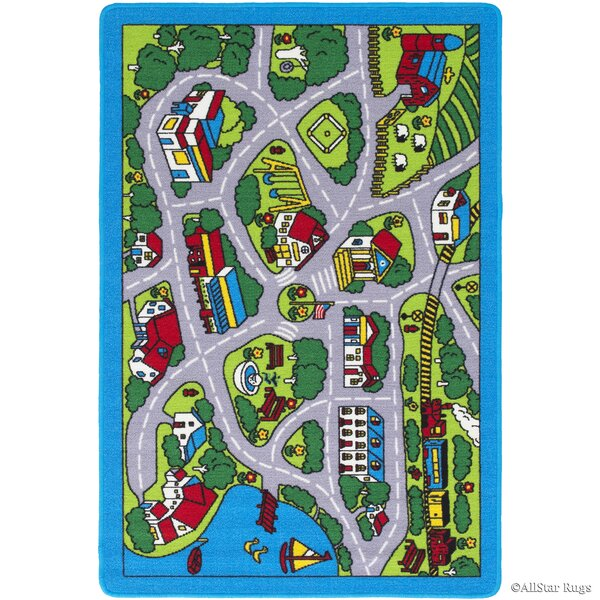 Forest River Street Map Green/Grey Area Rug by Zoomie Kids
