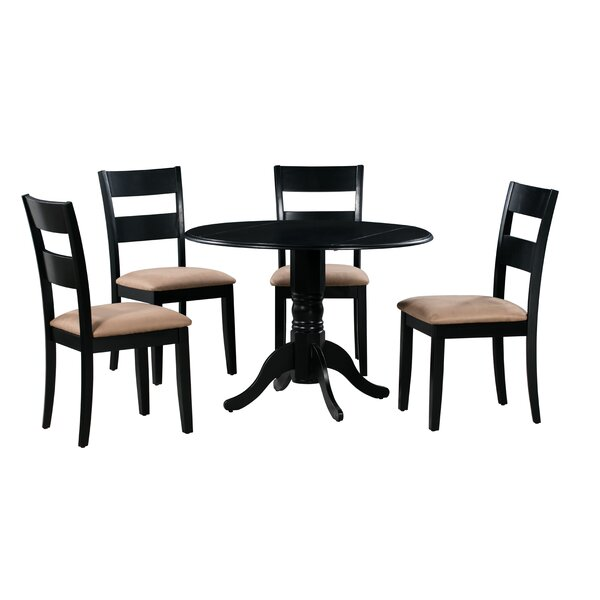 Cedarville 5 Piece Drop Leaf Solid Wood Dining Set by Alcott Hill Alcott Hill