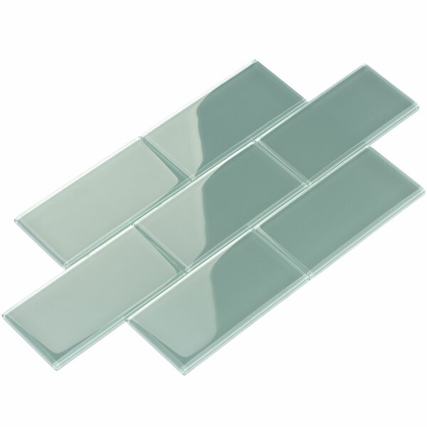 3 x 6 Glass Subway Tile in Slate by Giorbello