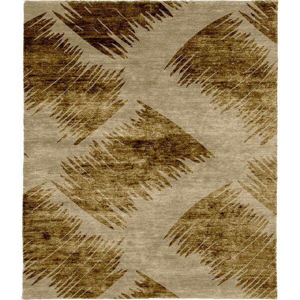 One-of-a-Kind Rana Hand-Knotted Beige/Gold 10' Square Wool Area Rug