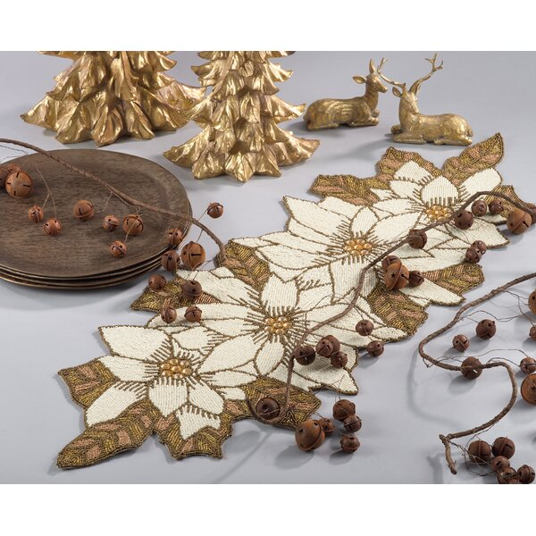 Beaded Poinsettia Holiday Christmas Table Runner by The Holiday Aisle