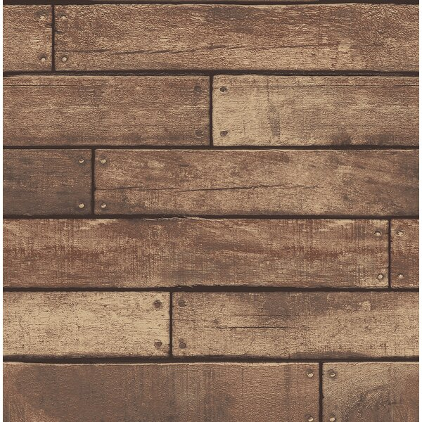 Essentials Weathered Nailhead Plank 33' x 20.5 Wood Wallpaper Roll by Brewster Home Fashions