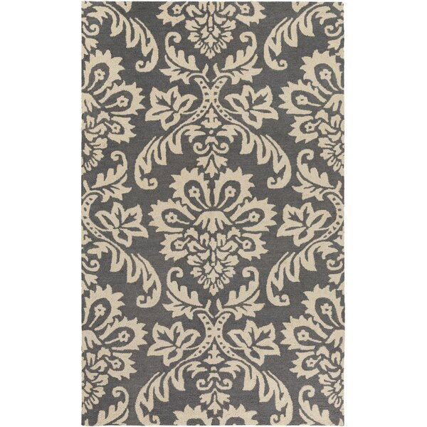 Kimberlin Hand-Tufted Dark Gray/Off-White Area Rug by Ophelia & Co.