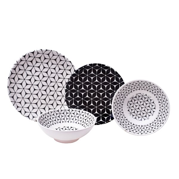 Strata 12 Piece Melamine Dinnerware Set, Service for 4 by 222 Fifth