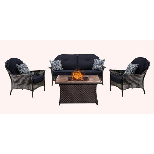 Kinnison 4 Piece Sofa Set with Cushions by Bayou Breeze