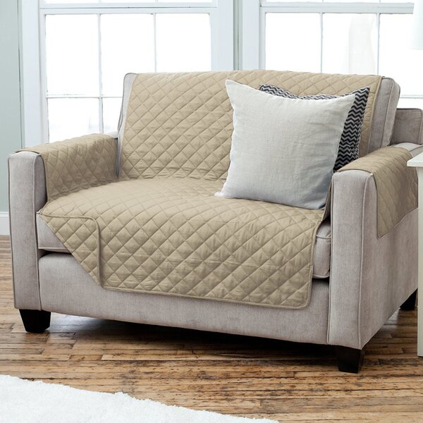 Carnside Diamond Quilt Box Cushion Loveseat Slipcover by Charlton Home