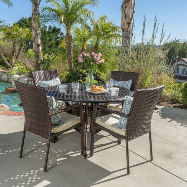 Hayden Outdoor 5 Piece Dining Set with Cushions by Bay Isle Home