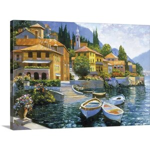 Lake Como Landing by Howard Behrens Painting Print on Wrapped Canvas by Great Big Canvas