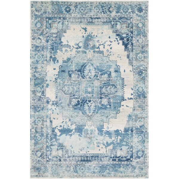 Lillo Distressed Sky Blue/Ivory Area Rug by Bungalow Rose