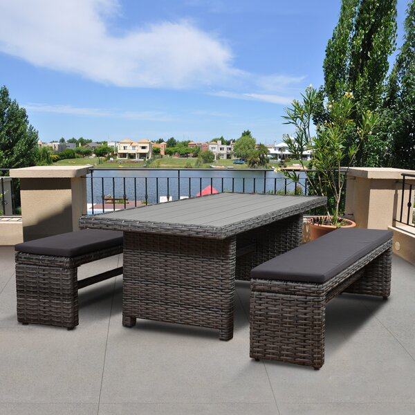 Tergel Low Patio 3 Piece Dining Set with Cushion by Beachcrest Home