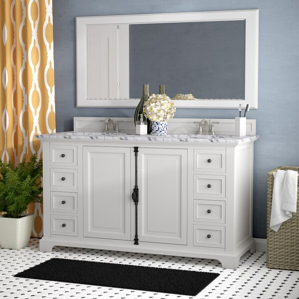 Ogallala Traditional 60 Double Cottage White Bathroom Vanity Set by Greyleigh