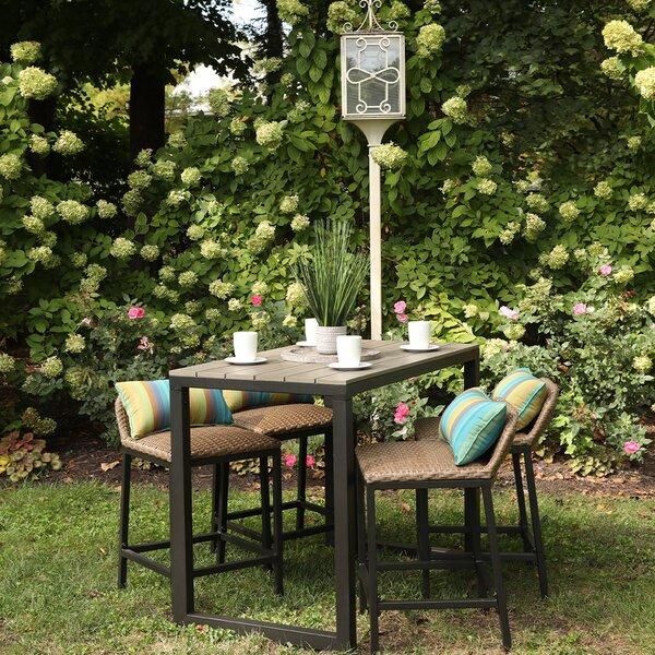 Alijha 5 Piece Bar Height Dining Set with Sunbrella Cushions by Brayden Studio