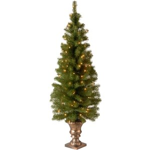 montclair entrance green spruce artificial christmas tree with 100 pre lit clear lights with urn - Christmas Tree Pre Lit