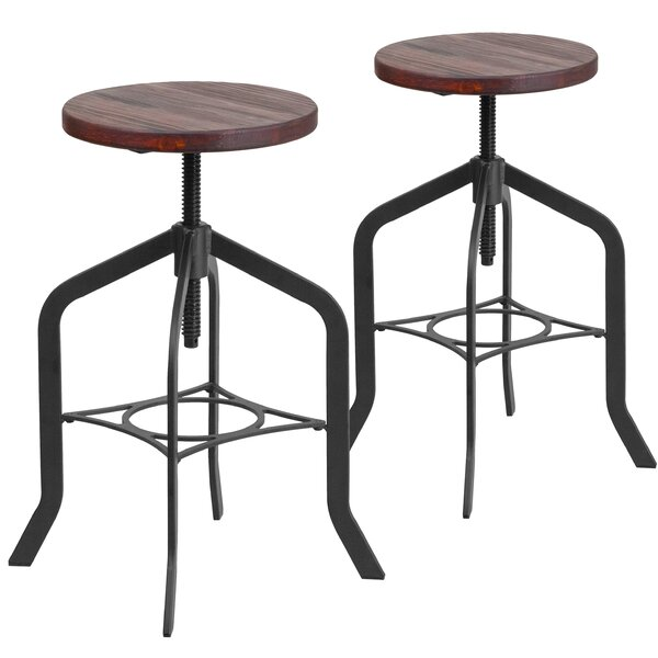 Swansea Adjustable Height Swivel Bar Stool (Set of 2) by 17 Stories 17 Stories