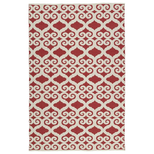 Covington White/Red Indoor/Outdoor Area Rug by Charlton Home