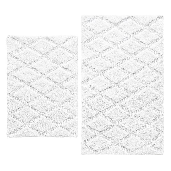 Tufted Diamond Rectangle 100% Cotton Reversible Geometric piece Bath Rug Set