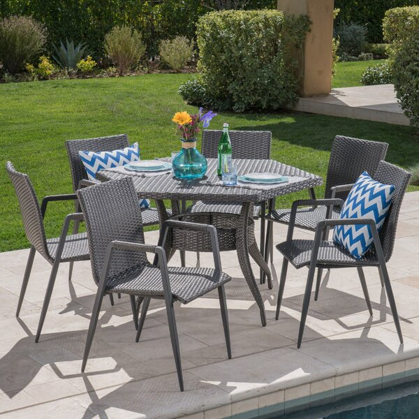 Mcneill Outdoor Wicker 7 Piece Dining Set by Wrought Studio