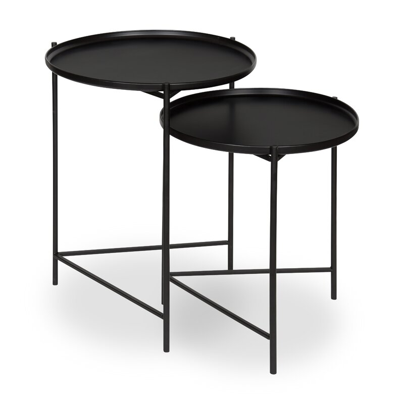Genial Petersburg Round Metal 2 Piece Nesting Tables
