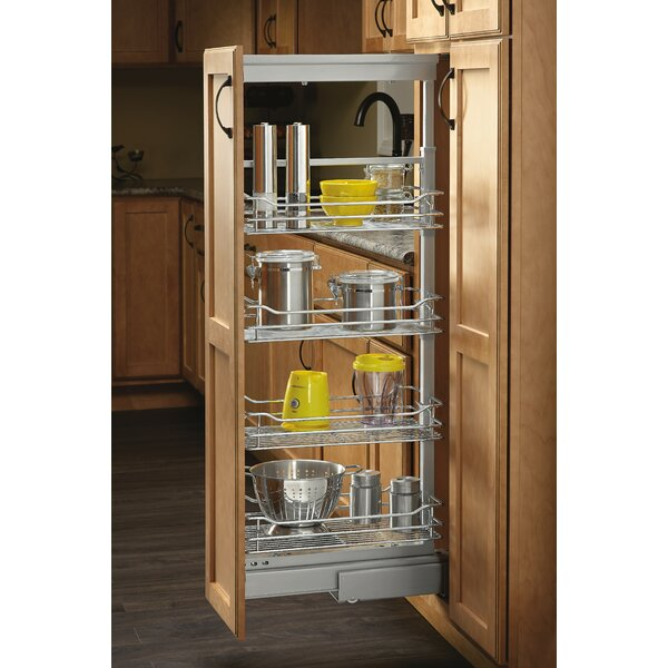 4-1/8 in. Chrome 4 Basket Pull-Out Pantry with Soft-Close Slides by Rev-A-Shelf