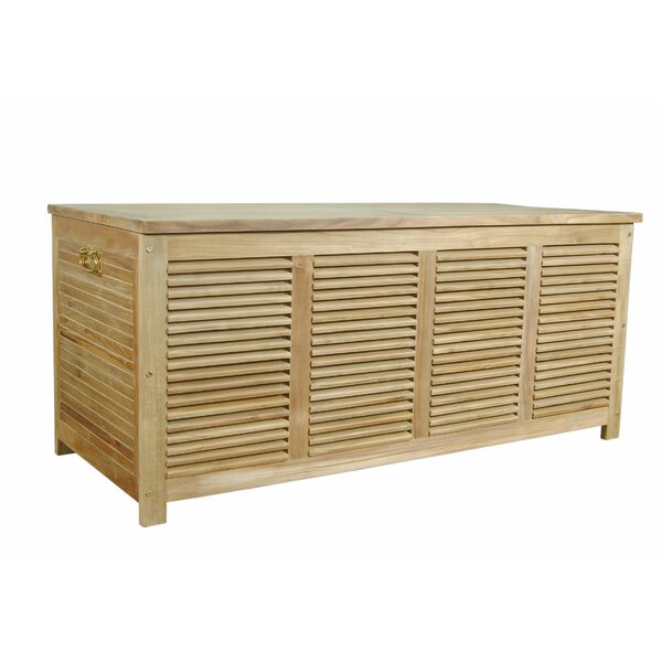 Giovanni Cushion Box Teak Storage Bench by Rosecliff Heights