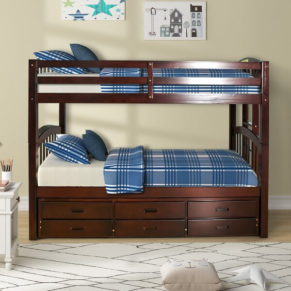 Coddington Twin Over Twin Bunk Bed with Trundle and Drawers by Harriet Bee