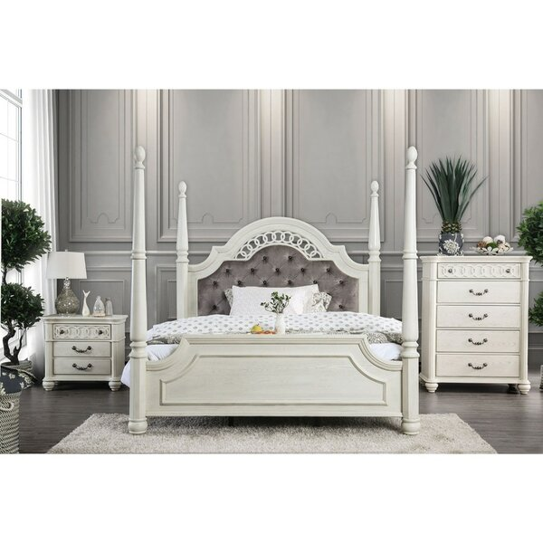 Rockridge Upholstered Four Poster Bed by Rosdorf Park