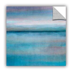 'Mirror Lake Scape Aqua' Painting Print by Ebern Designs