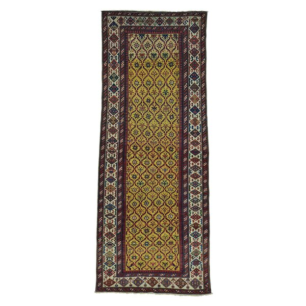 One-of-a-Kind Hallock Caucasian Dagestan Vegetable Dyes Wide Hand-Knotted Yellow Area Rug by World Menagerie