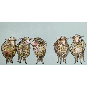 '5 Woolly Sheep' Graphic Art on Wrapped Canvas by