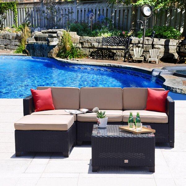 Rita Outdoor 5 Piece Rattan Sofa Set with Cushions by Ebern Designs