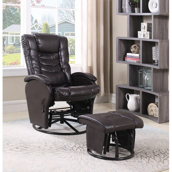 Lexy Upholstered Manual Glider Recliner with Ottoman W002980353