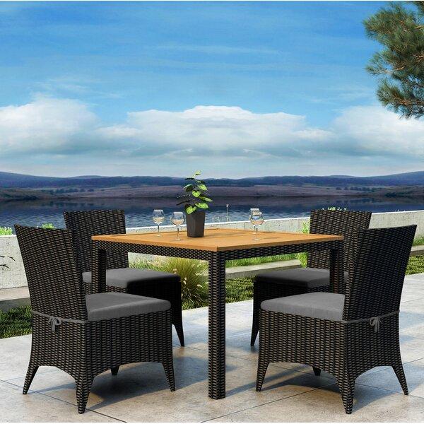 Aisha 5 Piece Dining Set with Sunbrella Cushion by Brayden Studio