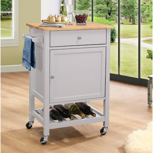 Roder Kitchen Cart with Solid Wood Top by Charlton Home
