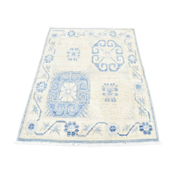 One-of-a-Kind Gehlert Khottan Oriental Hand-Knotted Beige Area Rug by World Menagerie