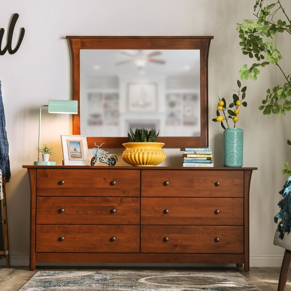 Migdalia 6 Drawer Double Dresser with Mirror by Millwood Pines