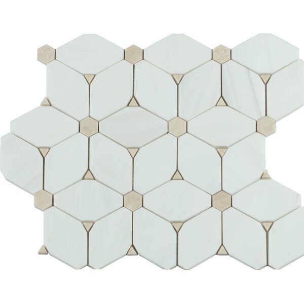 Cecily Pattern Polished Marble Mosaic Tile in White by MSI