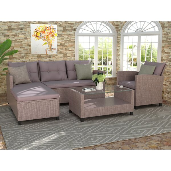 Allesia 4 Piece Rattan Sectional Seating Sofa with Cushions by Latitude Run